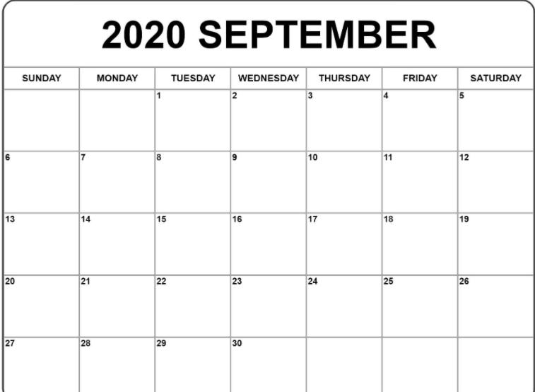 Print 2020 Calendar September