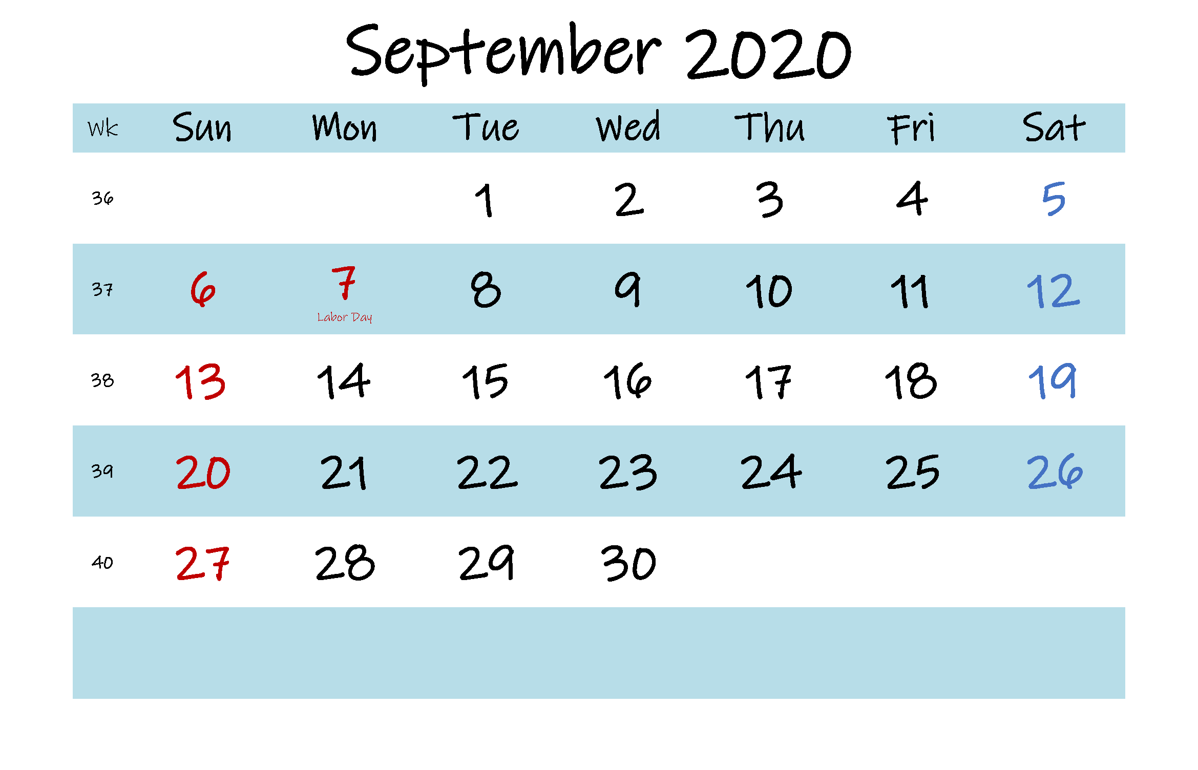 Print Sep 2020 Holidays Calendar Template