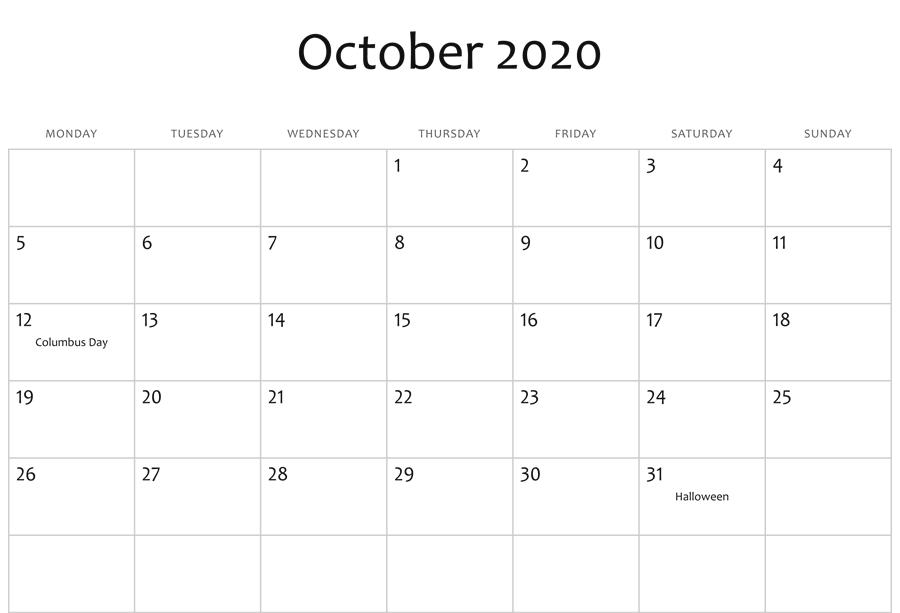 Printable October 2020 Editable Calendar
