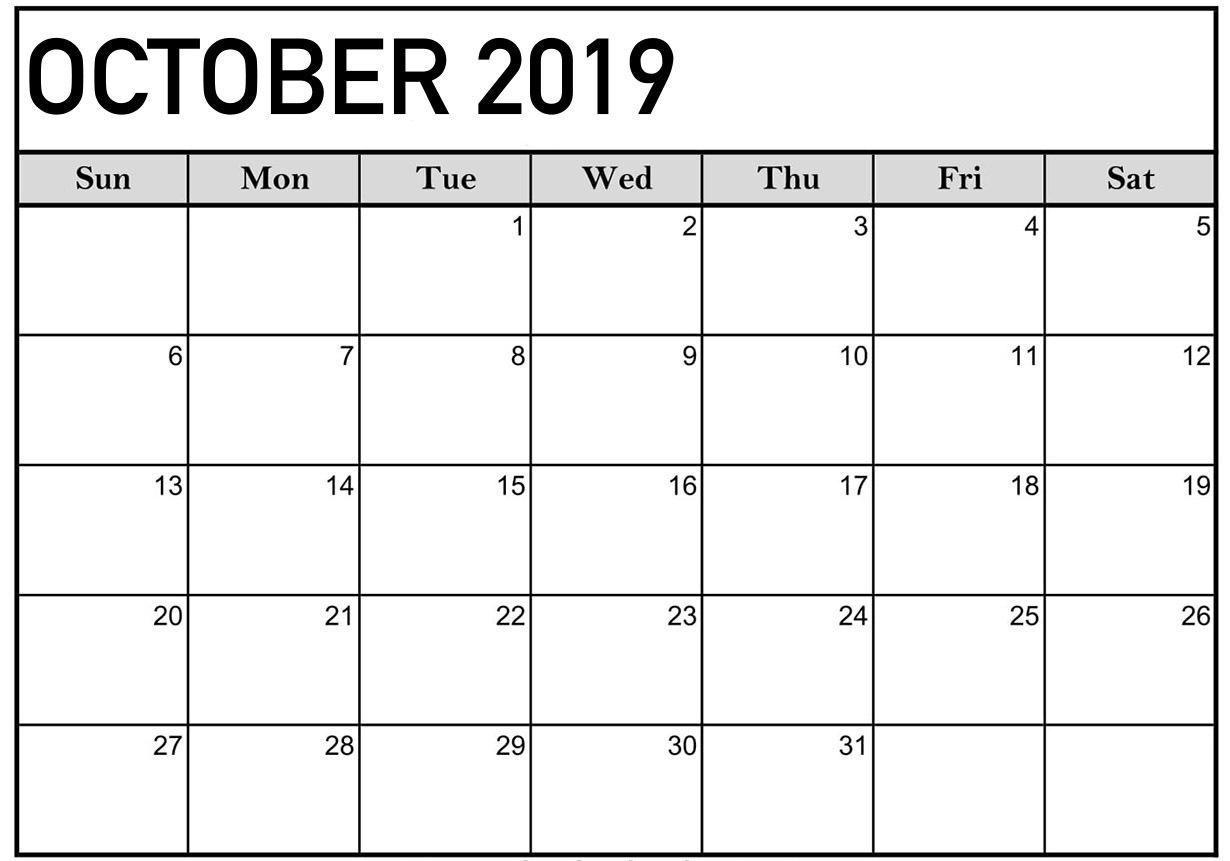 Printable 2019 October Calendar Blank