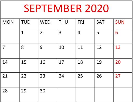 Printable 2020 September Calendar PDF