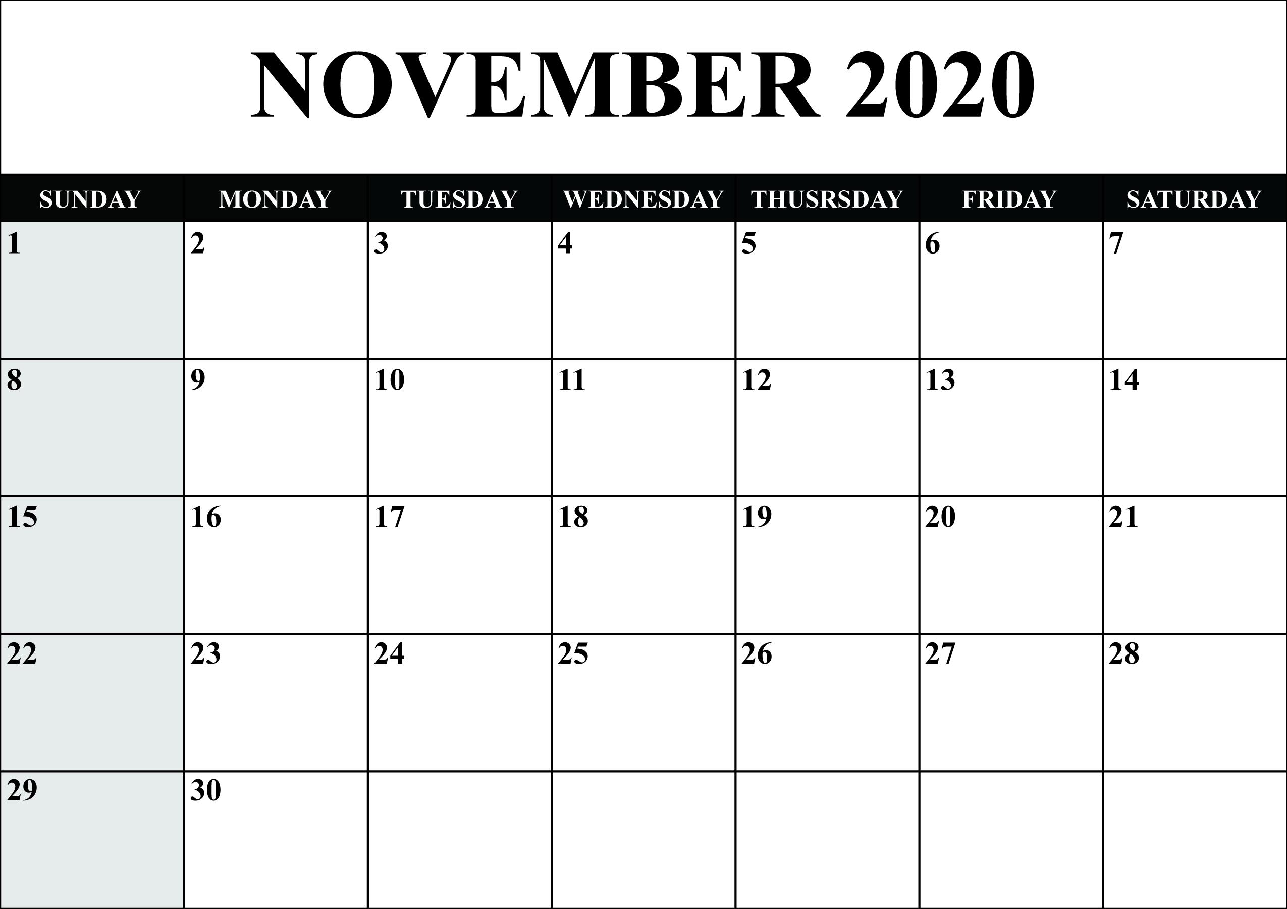 Printable Calendar For November 2020