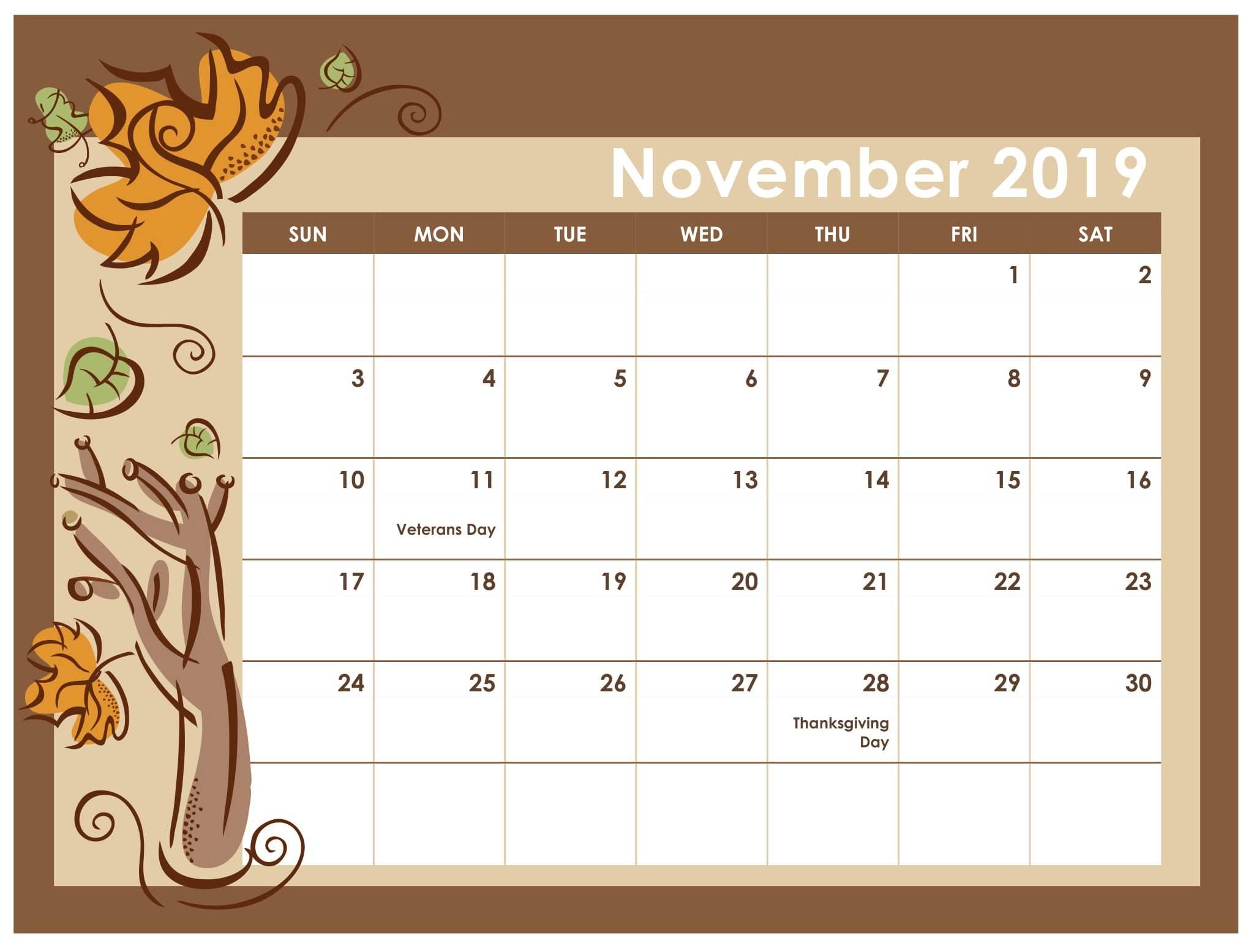 Printable Calendar November 2019 For Kids