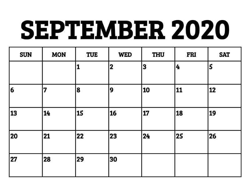 September 2020 Calendar Printable