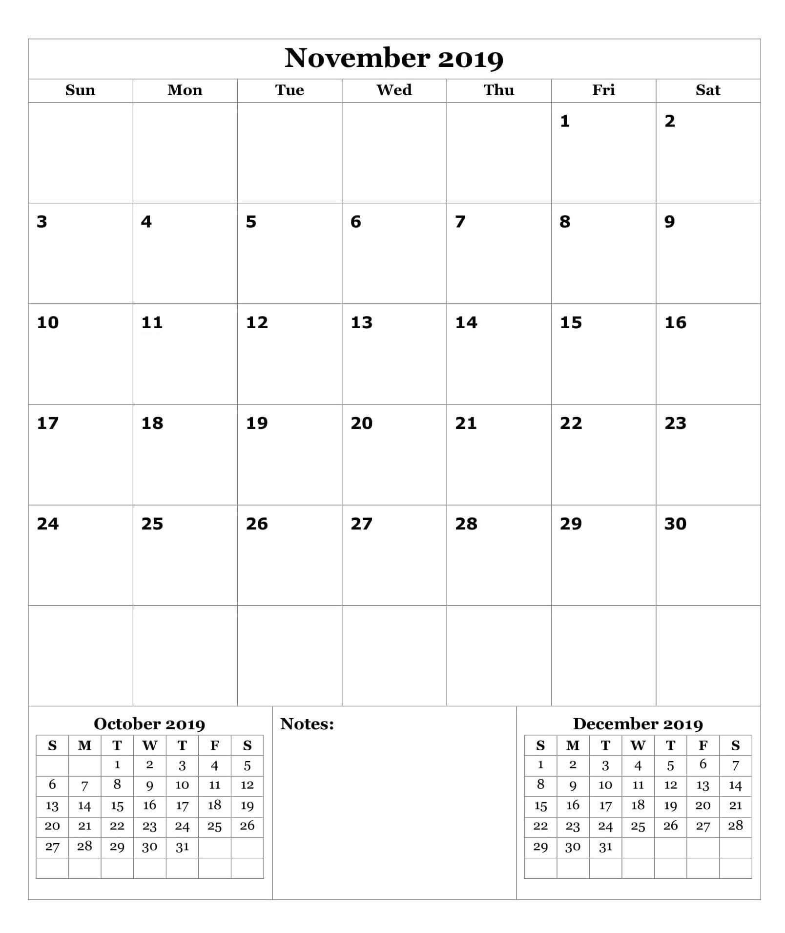 Printable Calendar of November 2019