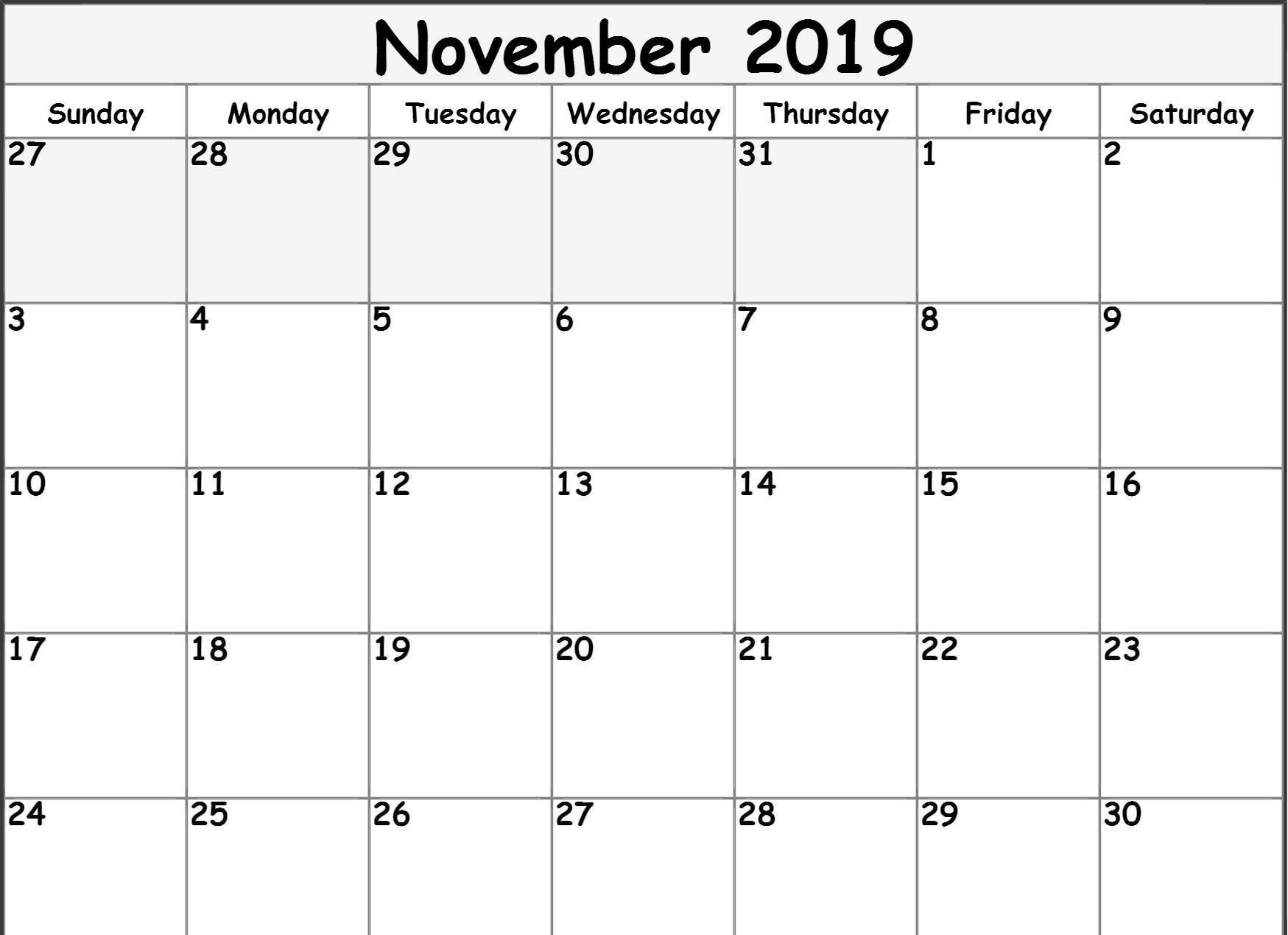 Printable November 2019 Calendar Moon Phases