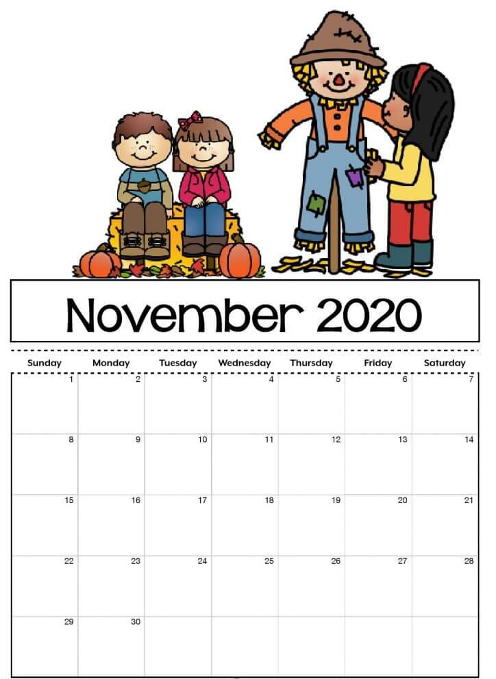 Printable November 2020 Calendar For Kids