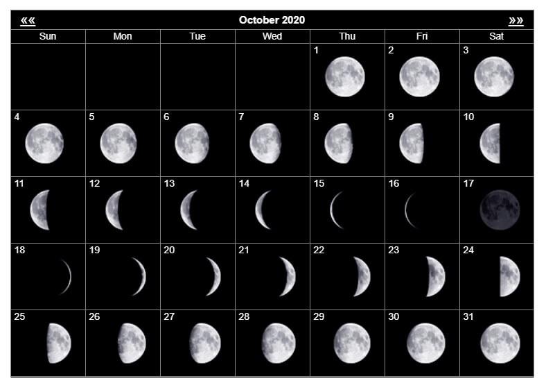 Printable October 2020 Moon Phases Calendar