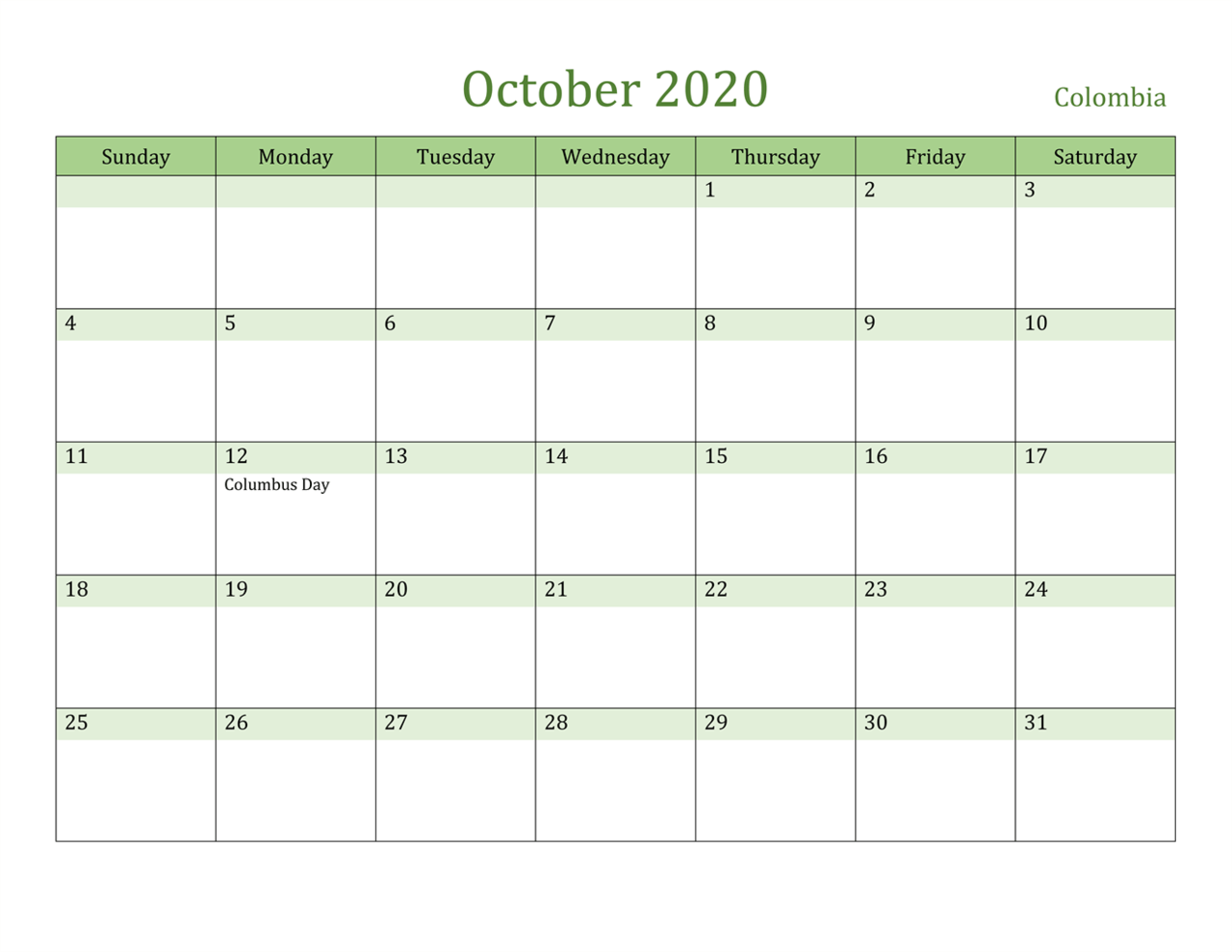 Printable October Calendar 2020 Blank Template