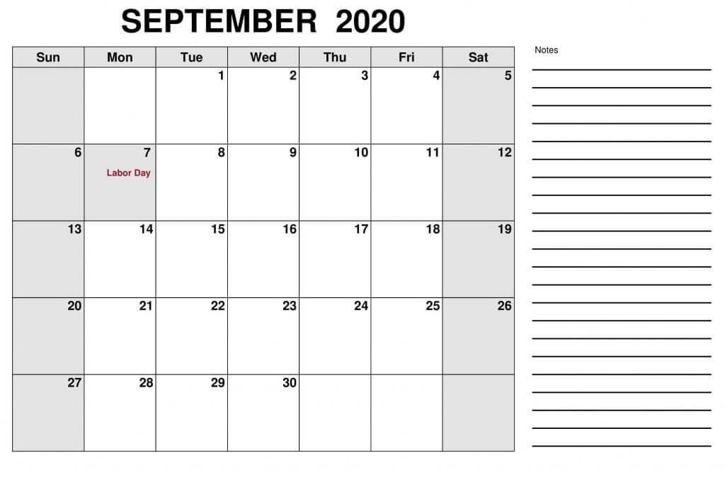 Printable September 2020 Holidays Calendar