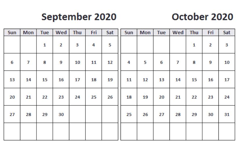 Printable September October 2020 Editable Calendar