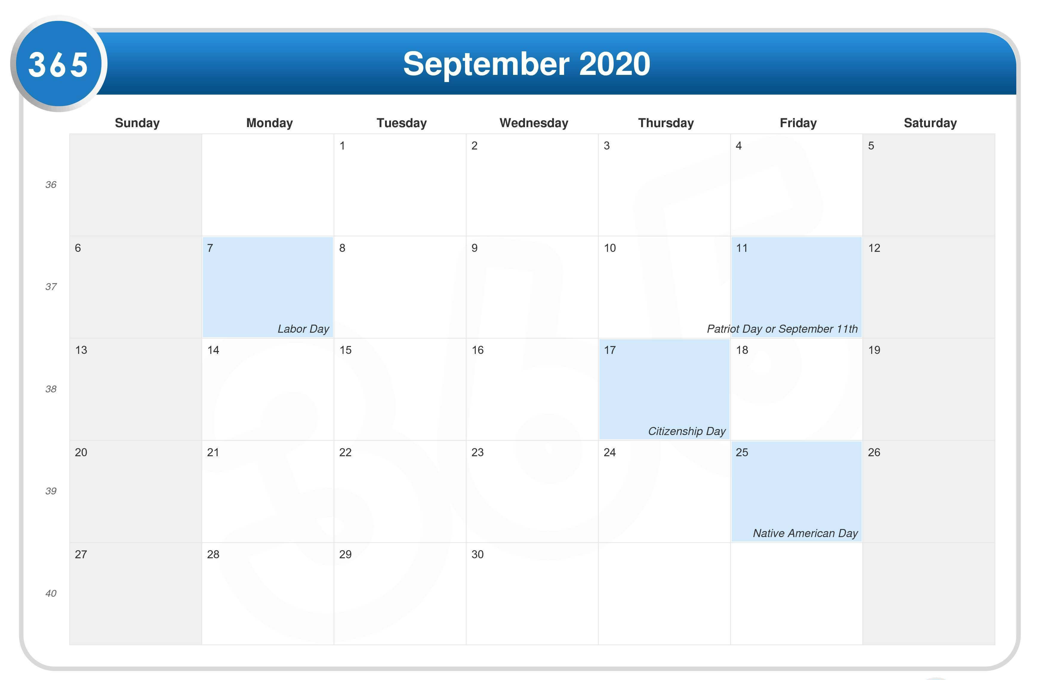 September 2020 Holidays Calendar