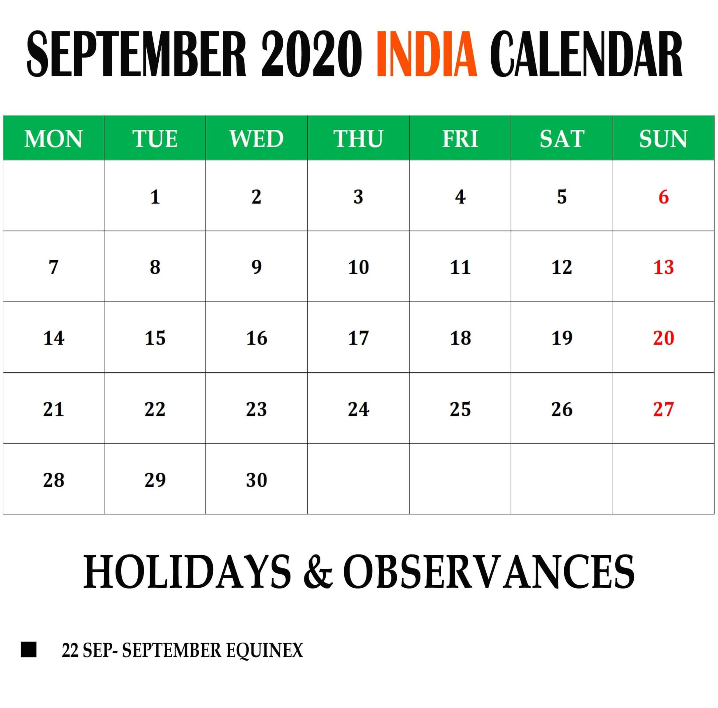 September 2020 India Holidays Calendar