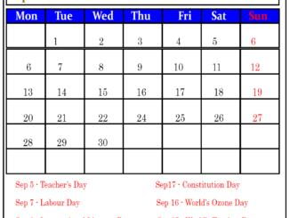 September 2020 Public Holidays Calendar