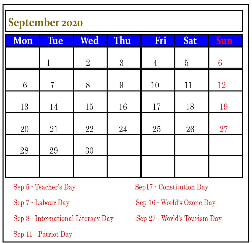 September 2020 Public Holidays Calendar