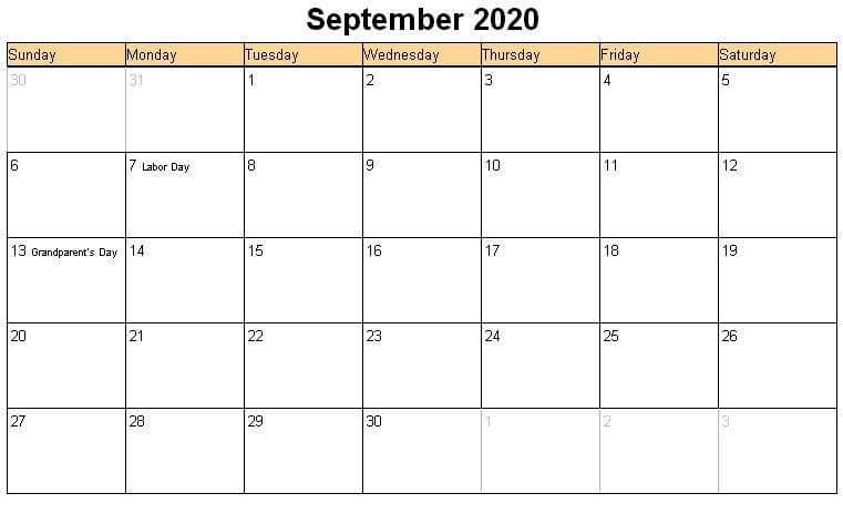 September 2020 UK Holidays Calendar