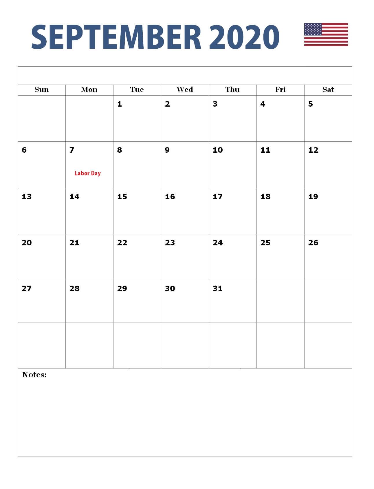 September 2020 USA Holidays Calendar