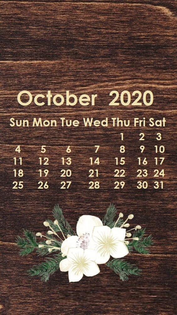 iPhone October 2020 Calendar Wallpaper