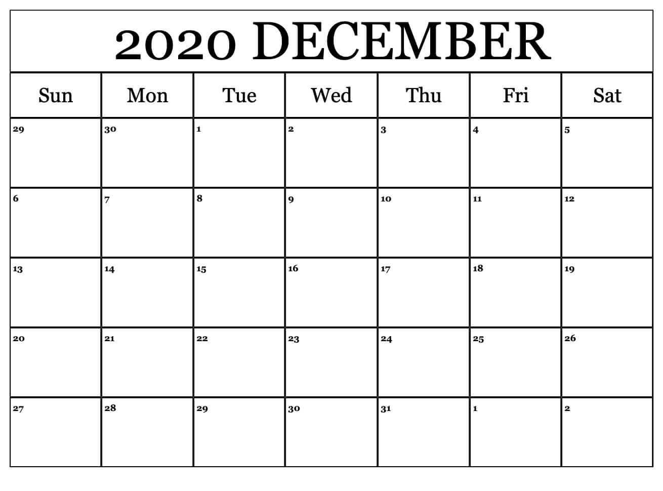 2020 December Calendar Editable