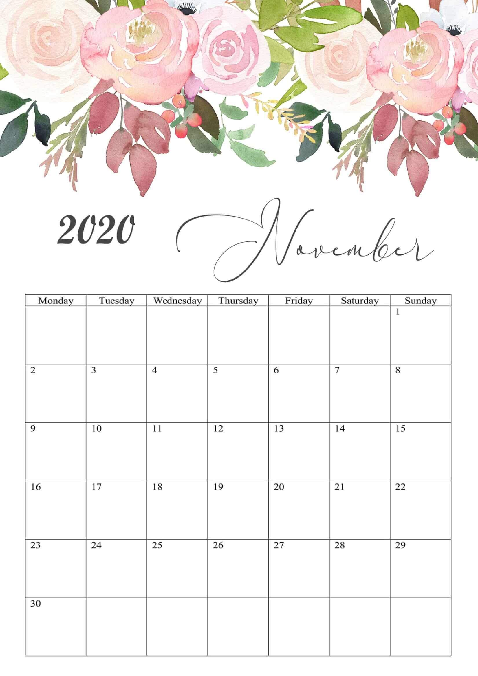 Beautiful November 2020 Calendar Floral