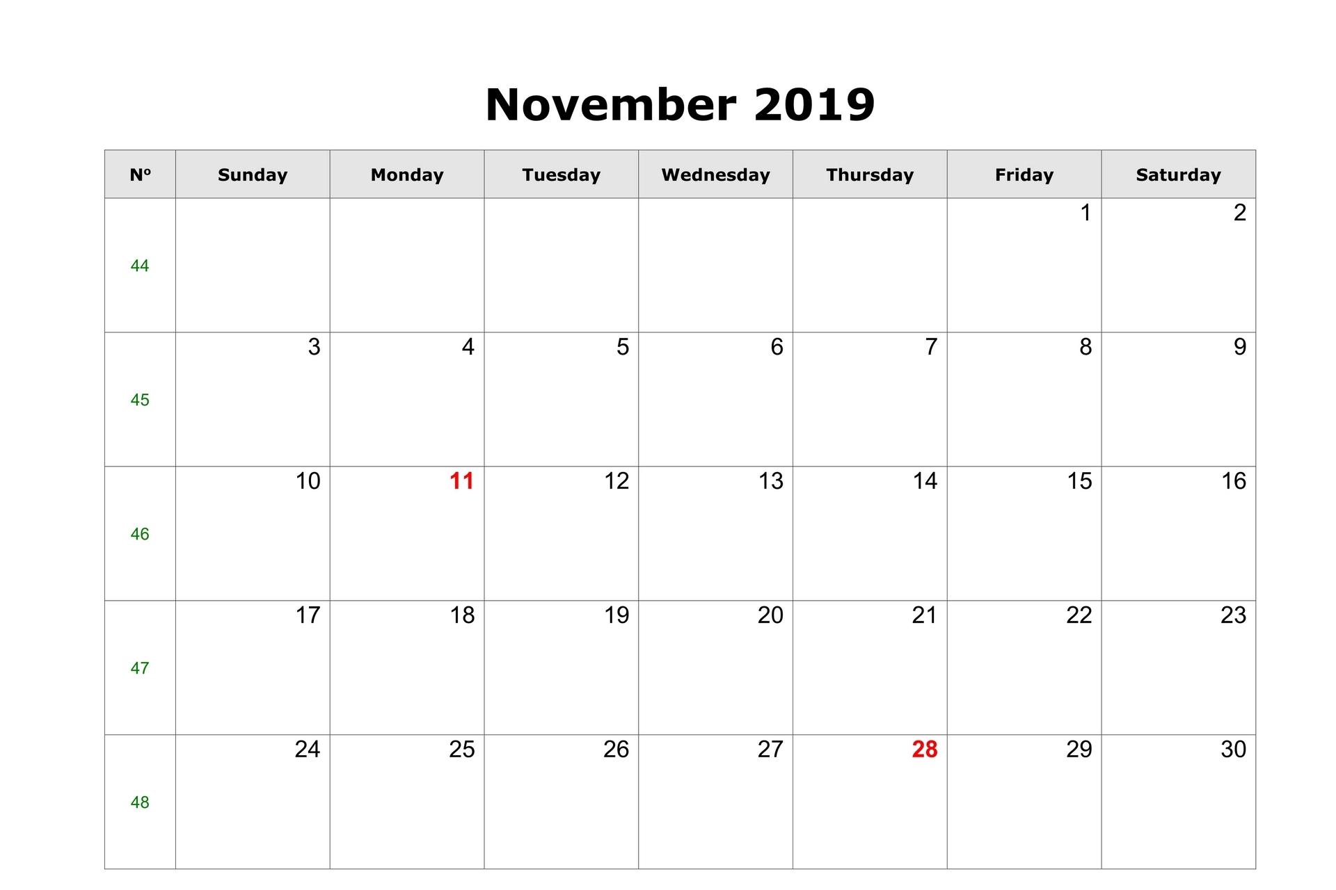 Blank Editable Calendar for November 2019