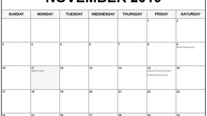 Blank November 2019 Calendar Holidays