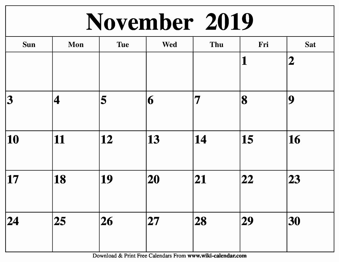 Blank November Month Calendar 2019 Germany