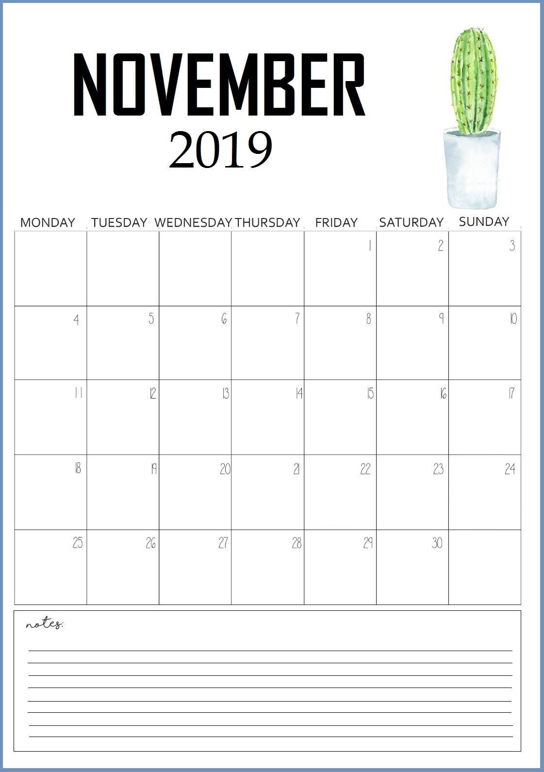 Cute November 2019 Wall Calendar