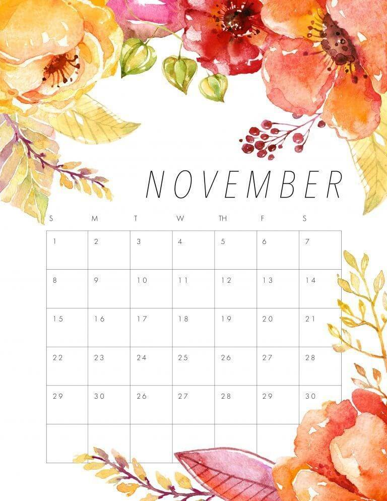 Cute November 2020 Flora Calendar