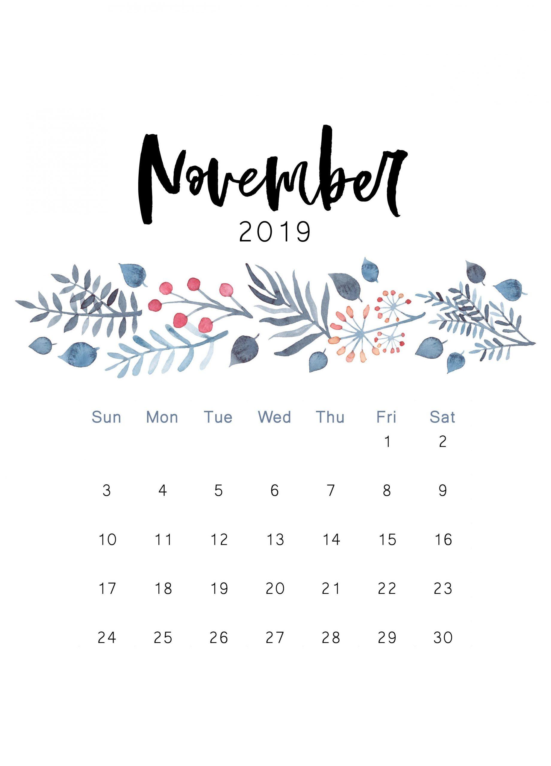Cute November Calendar 2019