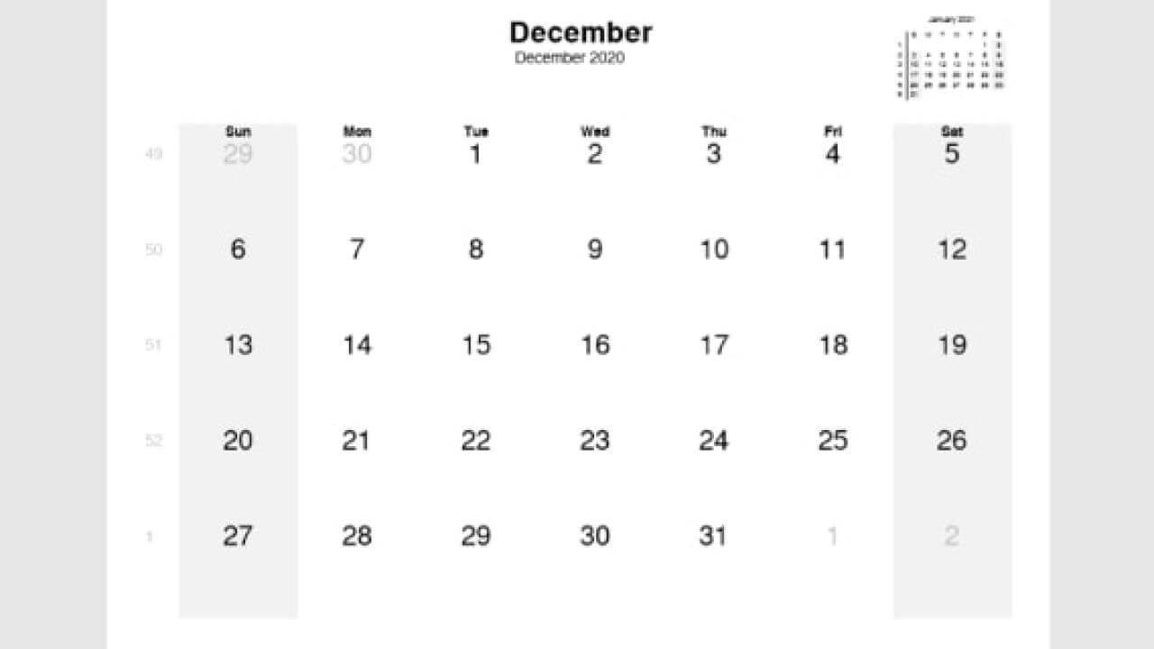 December 2020 Editable Calendar