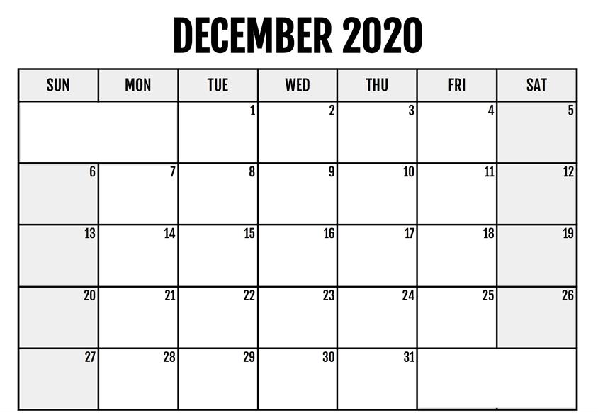 Editable December 2020 Calendar Word