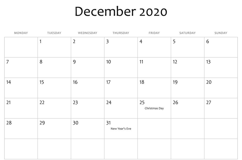 Editable December Calendar 2020