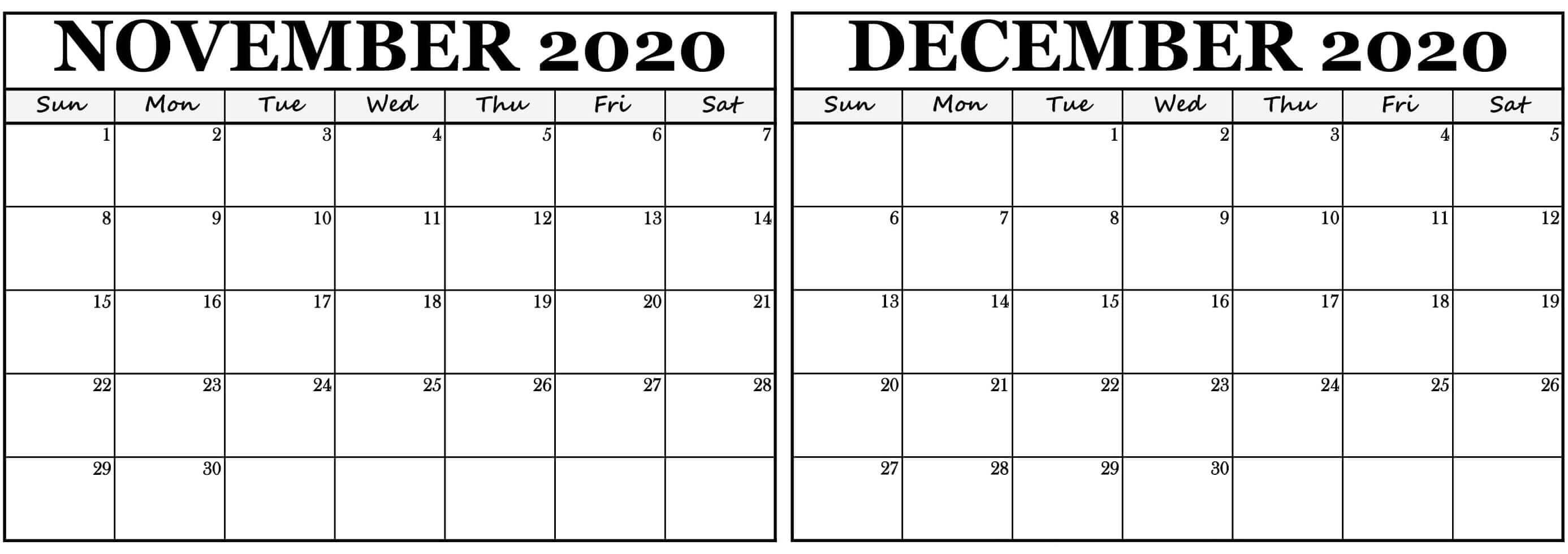 Editable November December 2020 Calendar Landscape