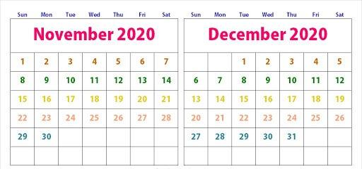 Editable November December 2020 Calendar