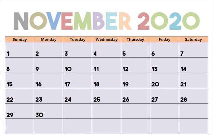Fillable November 2020 Calendar Blank