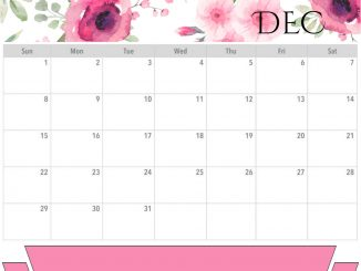 Floral December Calendar 2019 Editable