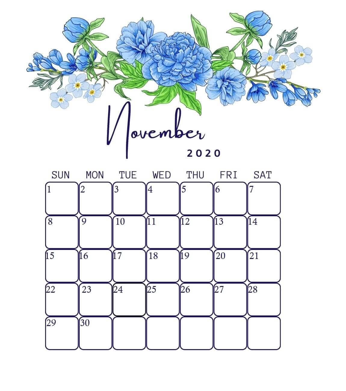 Floral November 2020 Desk Calendar