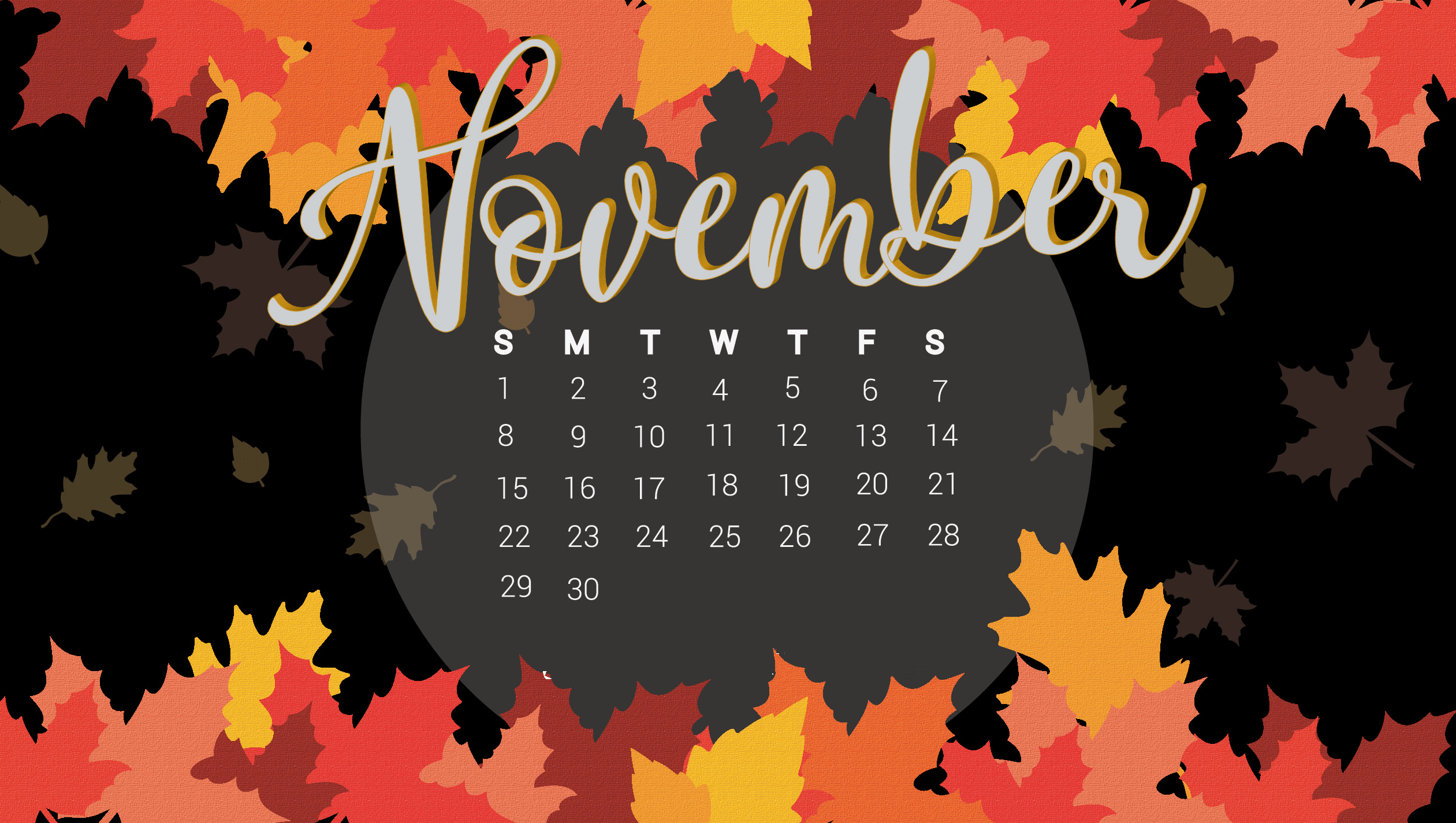 Floral November 2020 HD Calendar Wallpaper