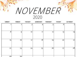 Floral November 2020 Wall Calendar Wallpaper