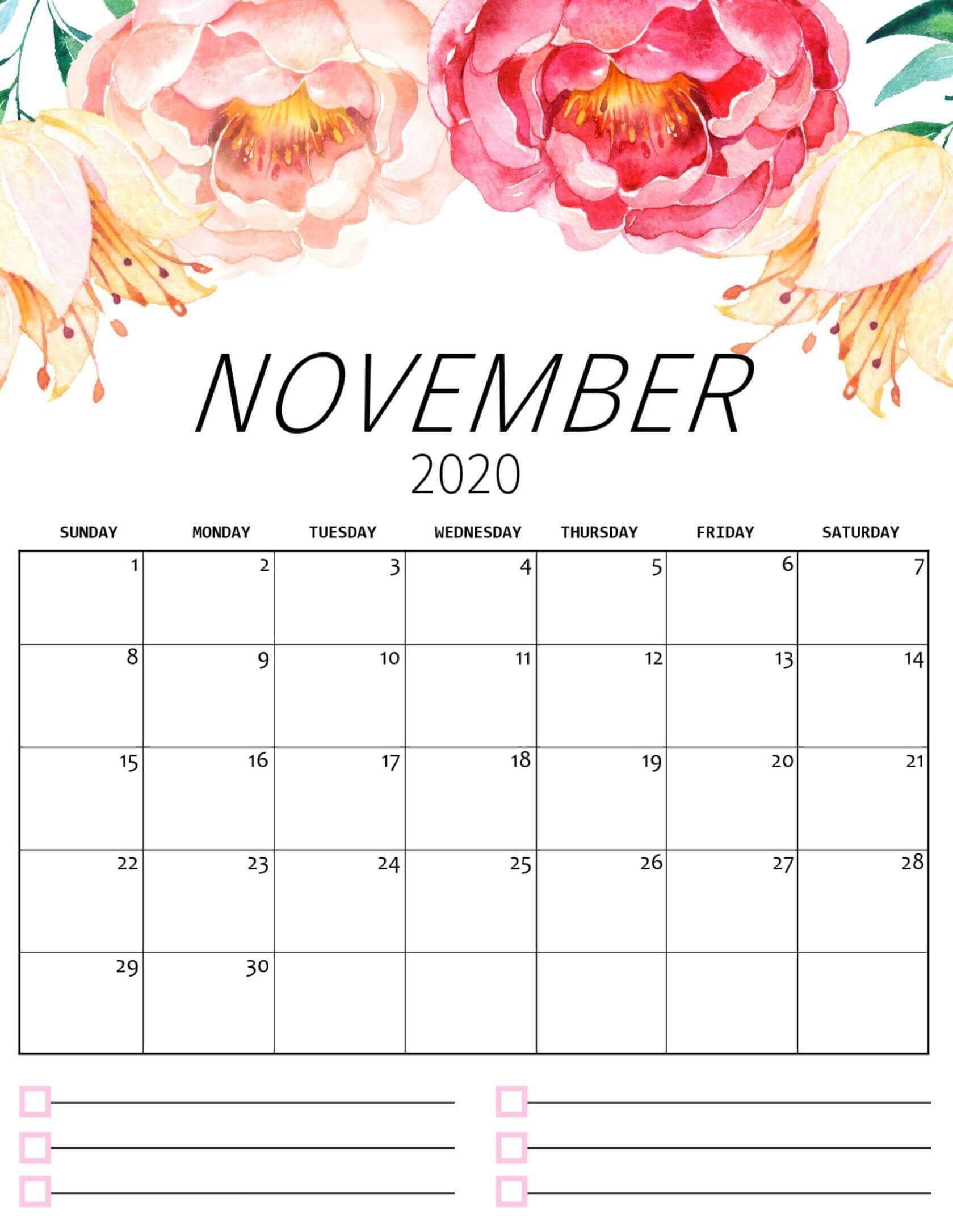 Floral November 2020 Wall Calendar Wallpaper