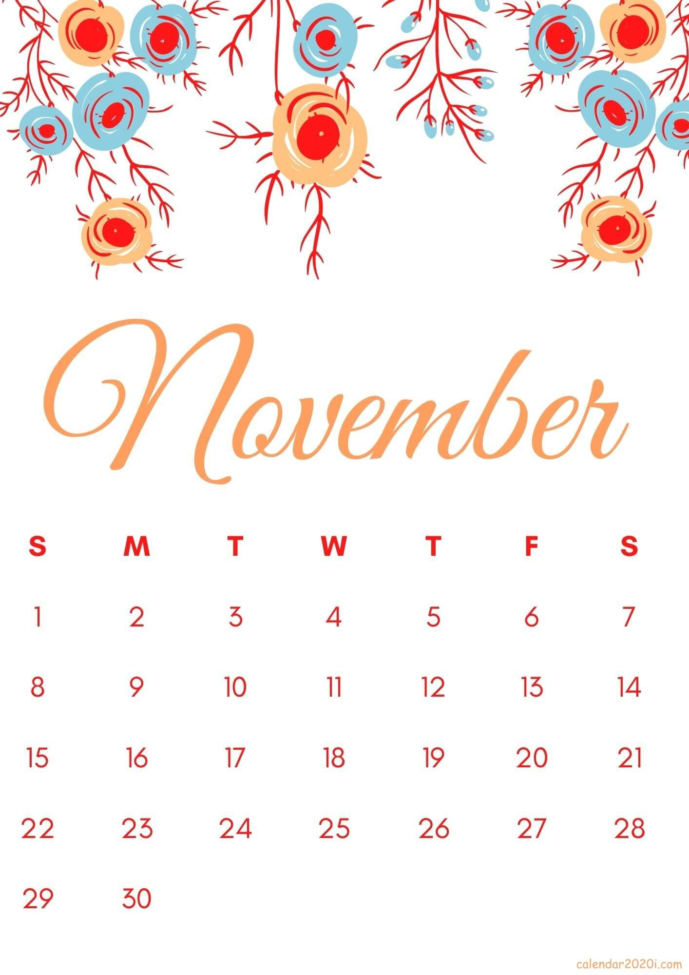 Floral November 2020 iPhone Calendar Wallpaper