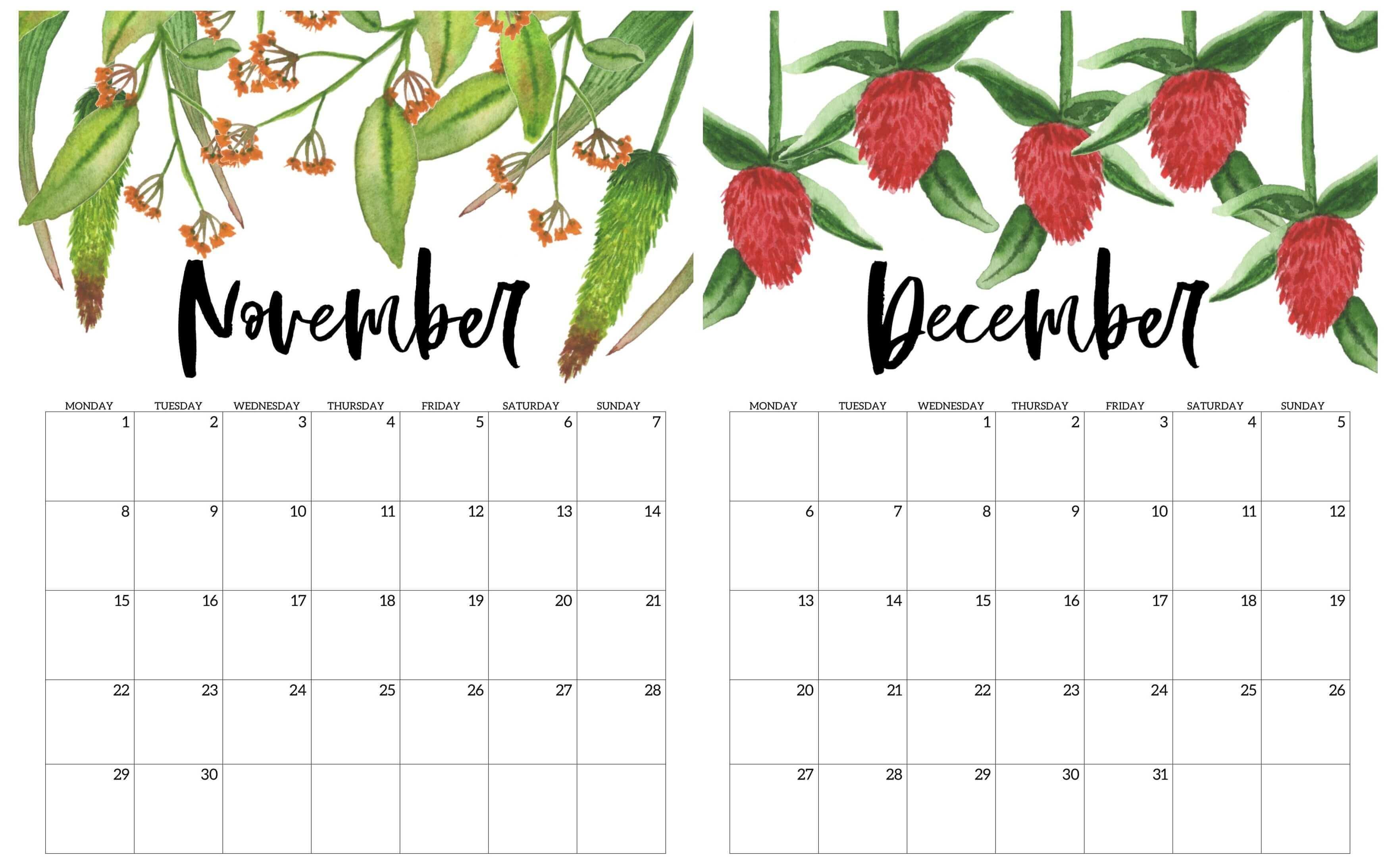 Floral November December 2020 Calendar
