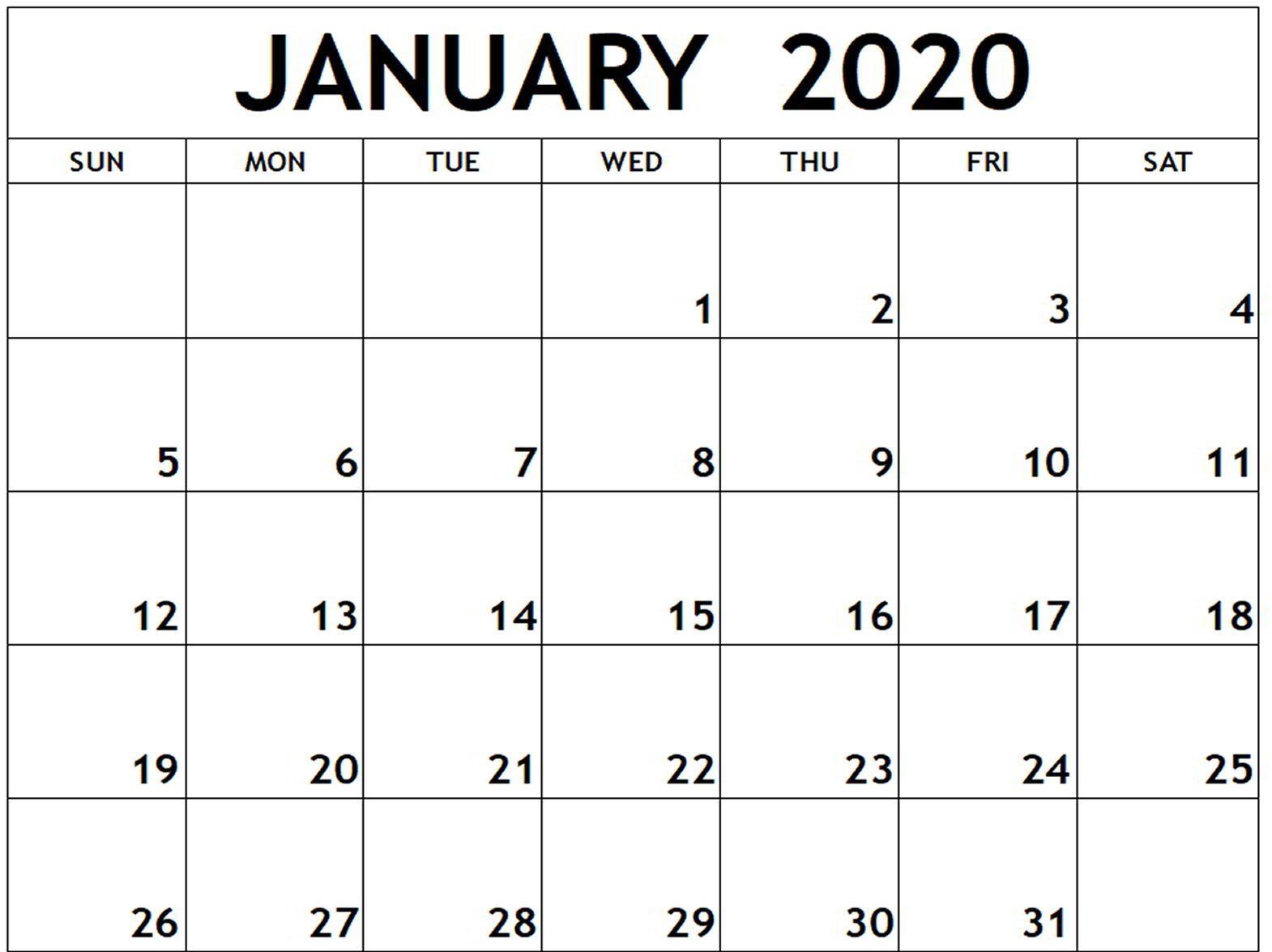January 2020 Calendar PDF