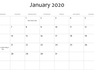 January 2020 Calendar Word Doc