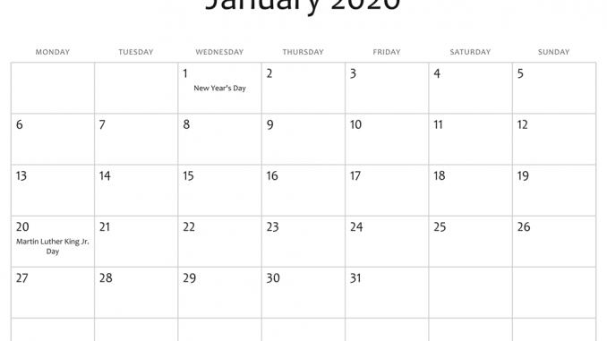 January 2020 Calendar Word Doc