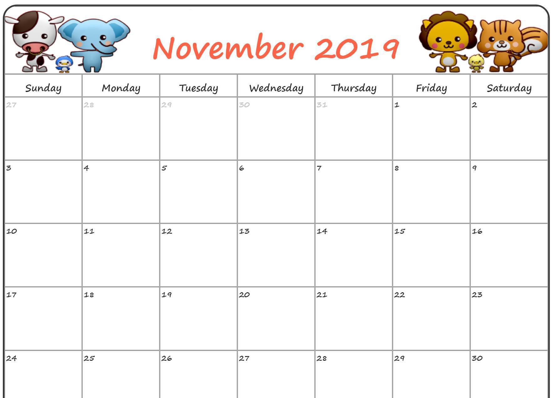 Leere November 2019 Kalender