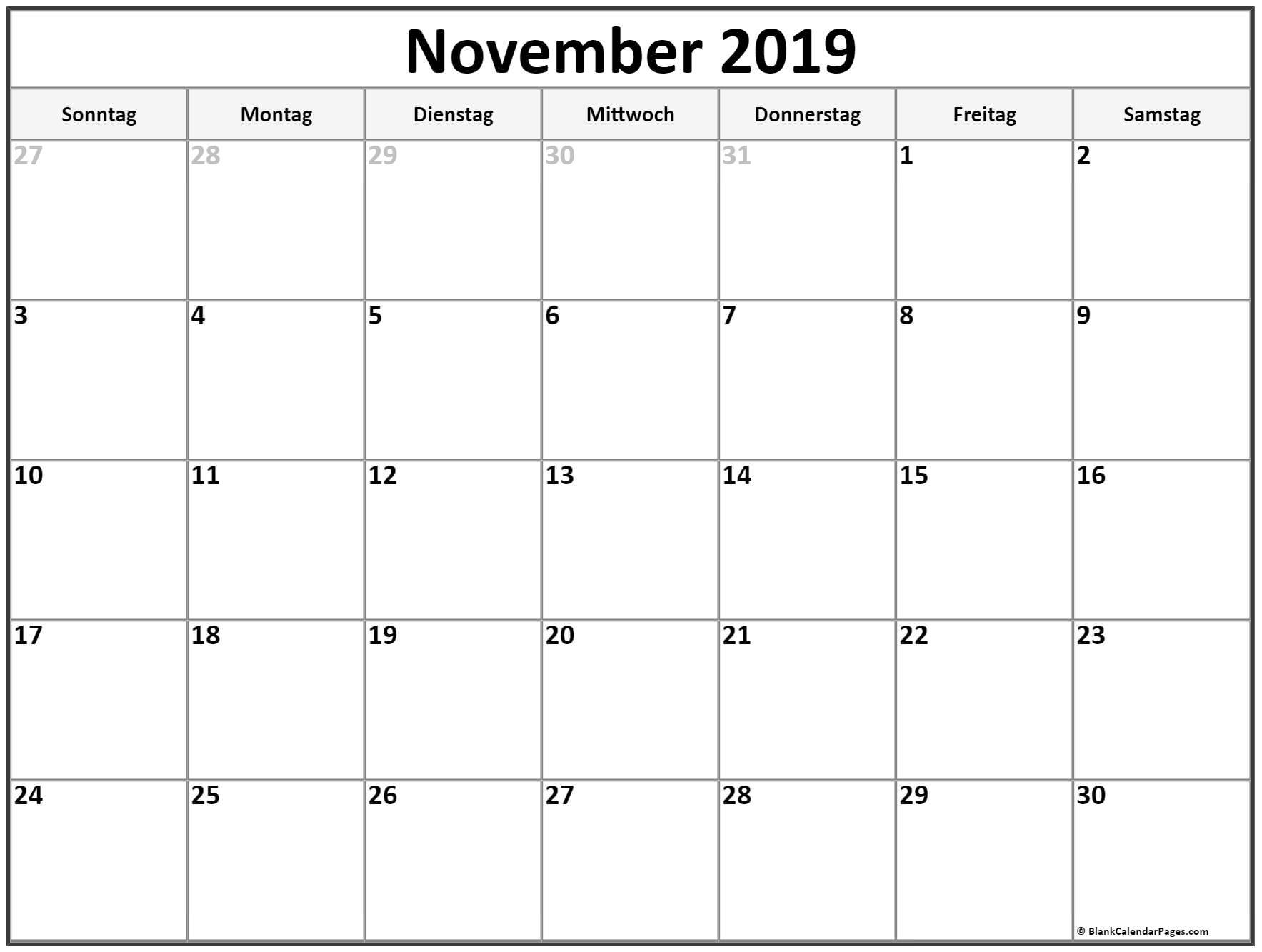 Leerer kalendar November 2019