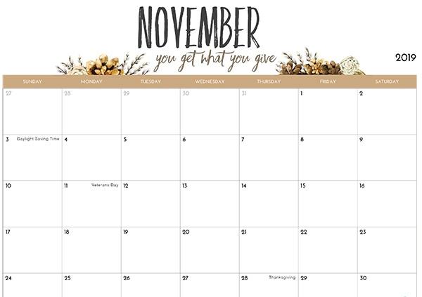 November 2019 Calendar Cute Designs