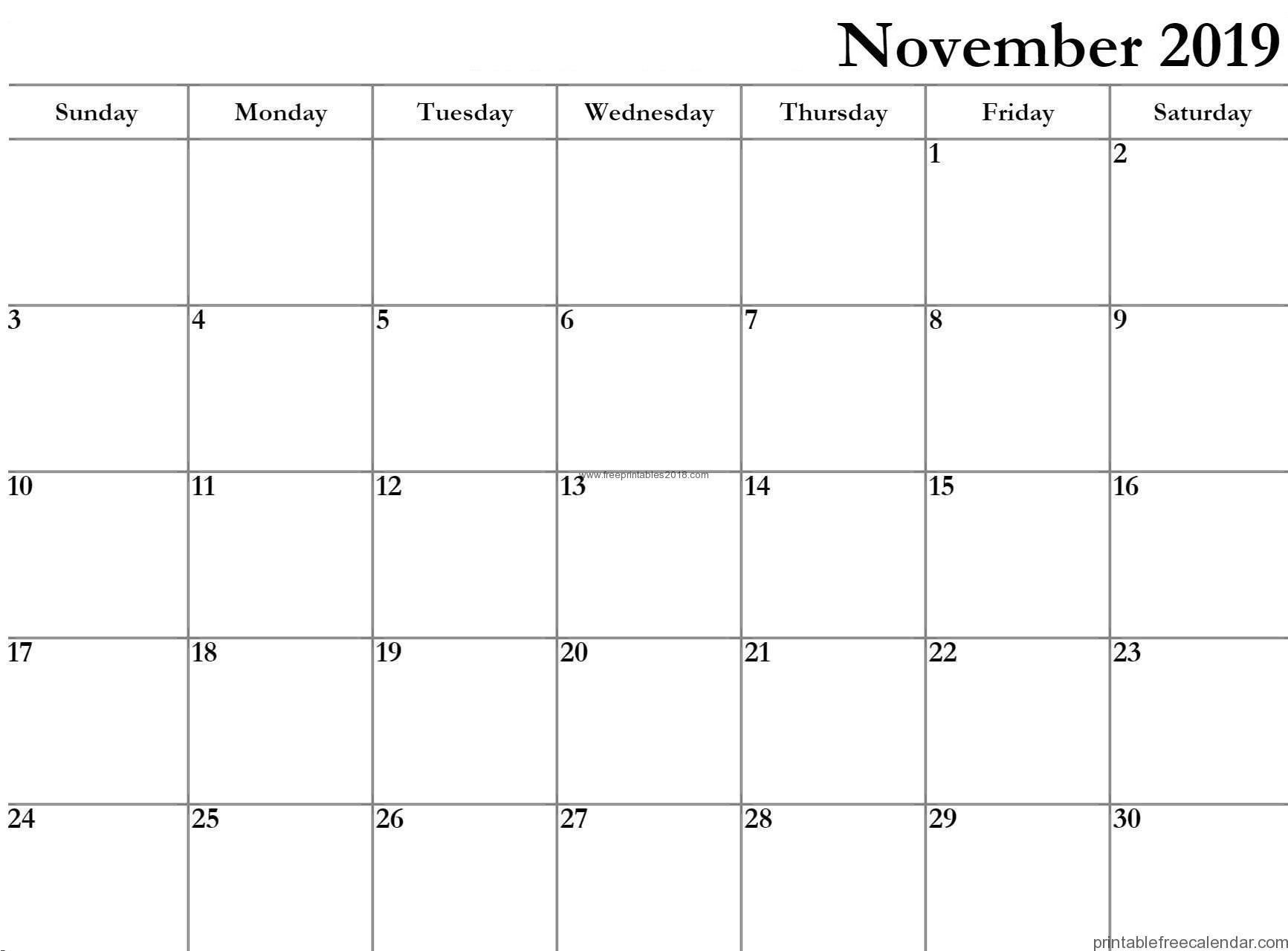 November 2019 Kalender bearbeitbare druckbare Vorlagen
